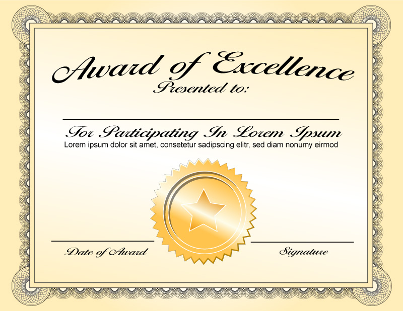 Generic award certificate in vector format | TrashedGraphics