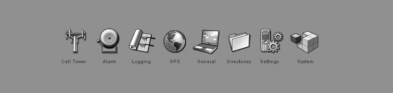 Set of 8 grayscale technology icons