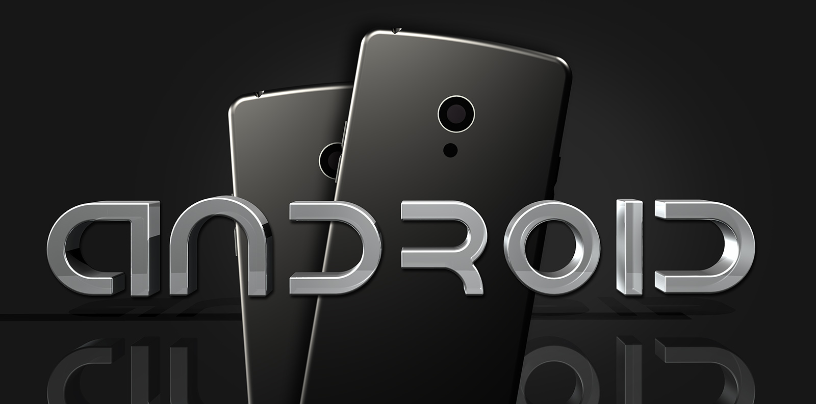 3d android logos and smartphones