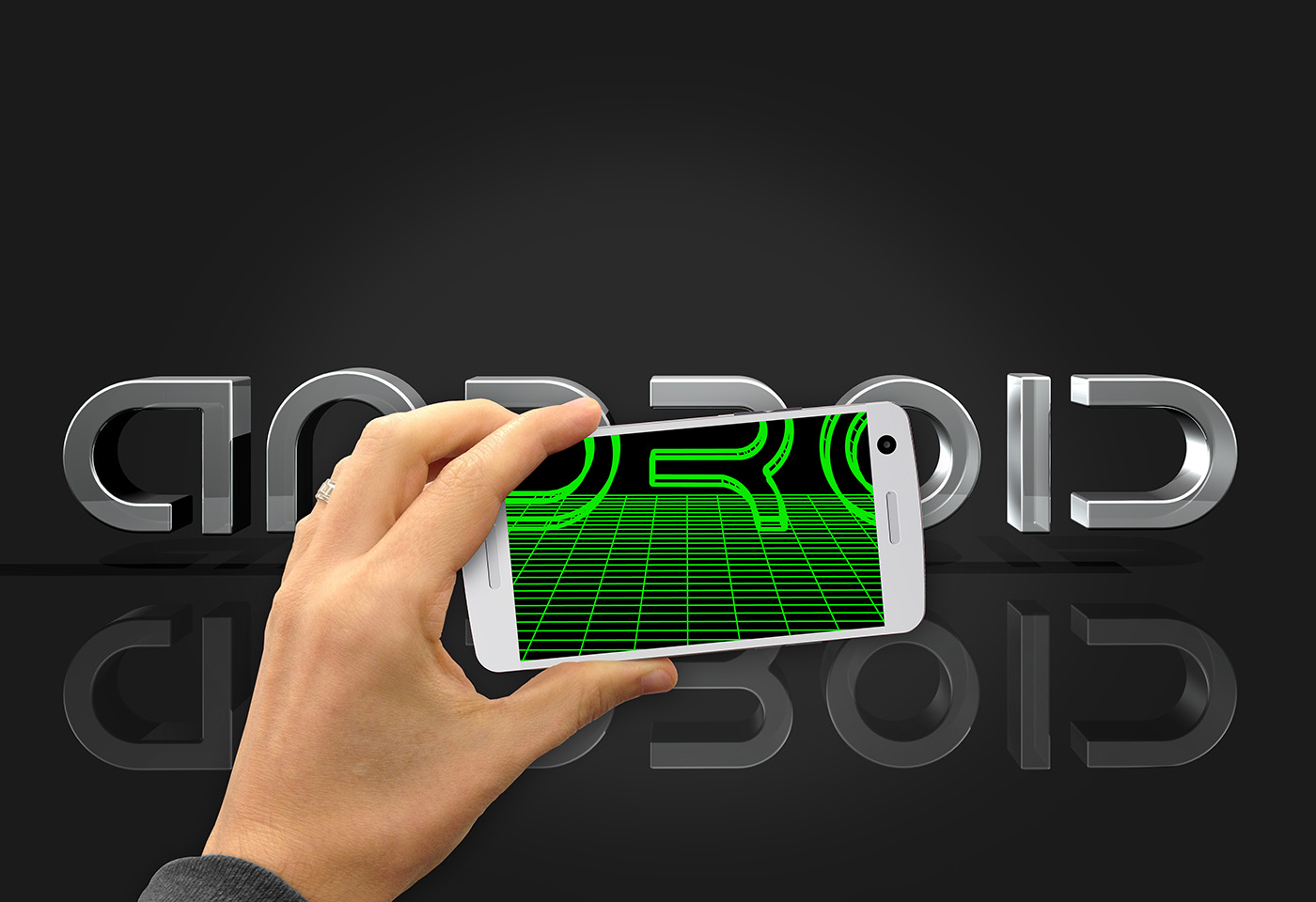 hand and phone with android logo