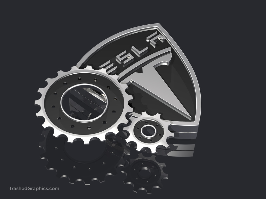 tesla logo and gears