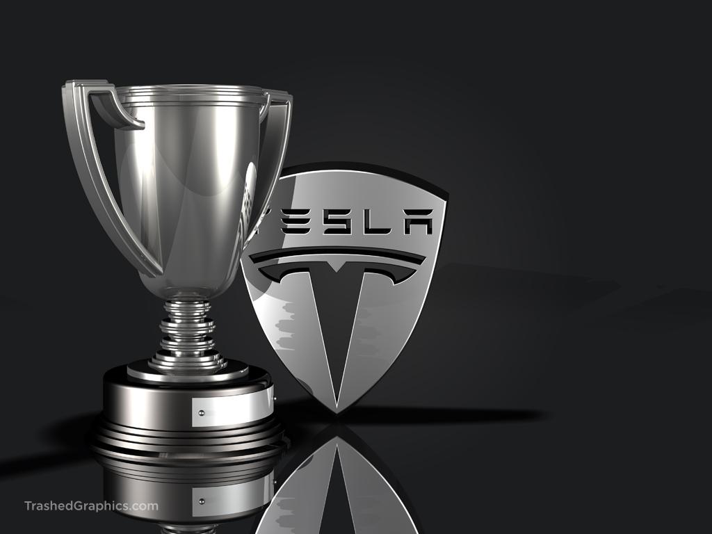 tesla logo and trophy