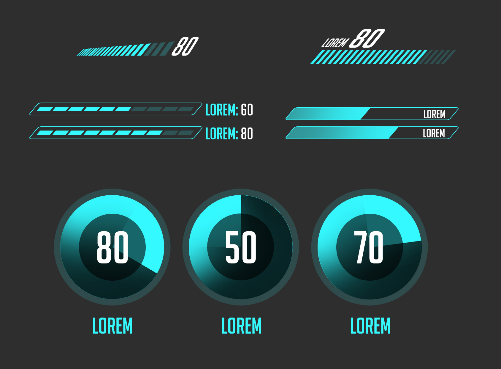 blue digital UI elements in PSD format