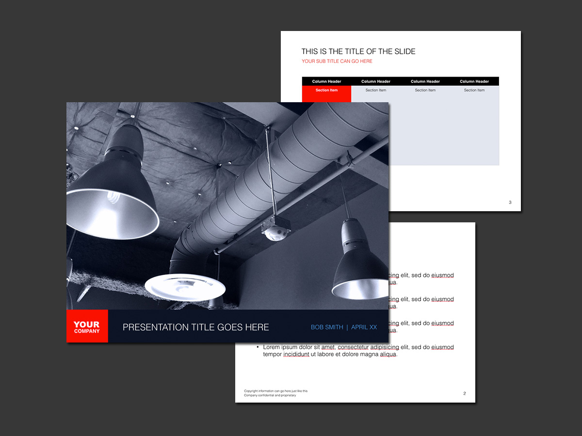 dark gray and white three-page Keynote presentation template