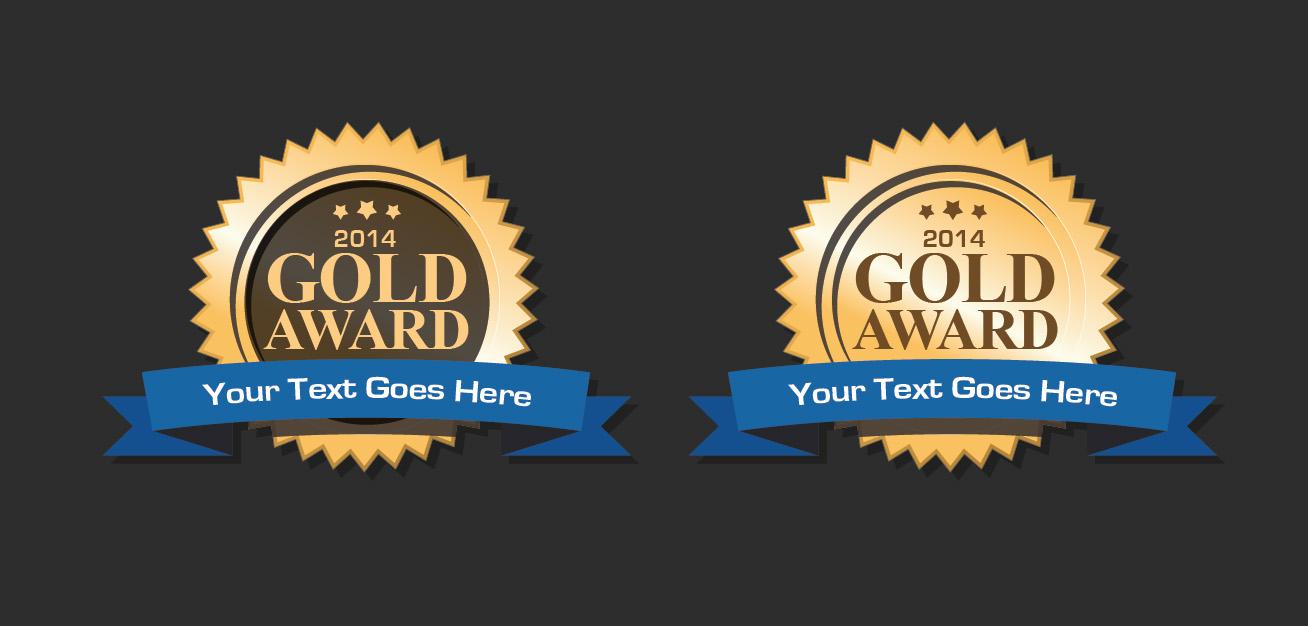Gold vector award badges