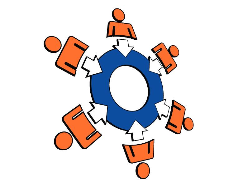 vector teamwork diagram