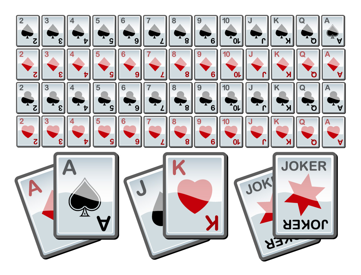 full deck of playing cards illustration