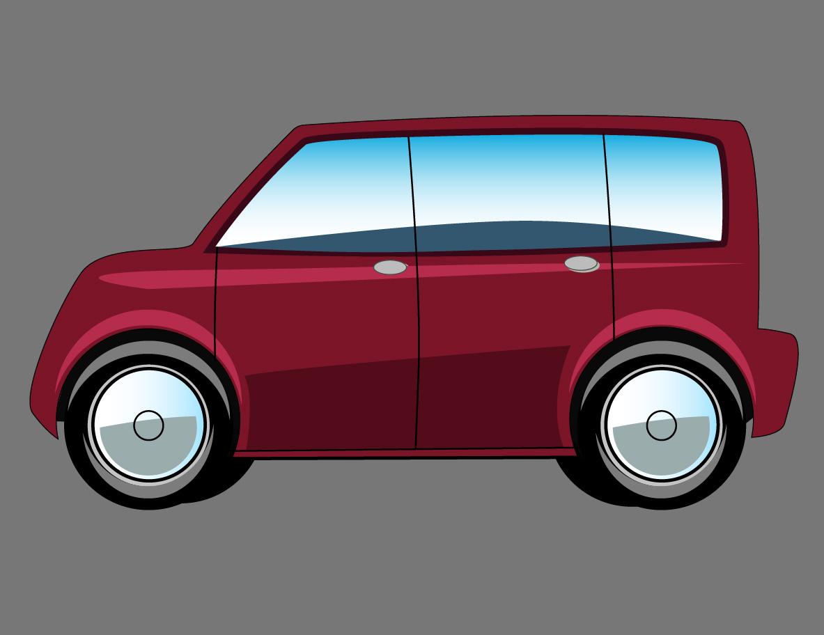 dark red cartoon van