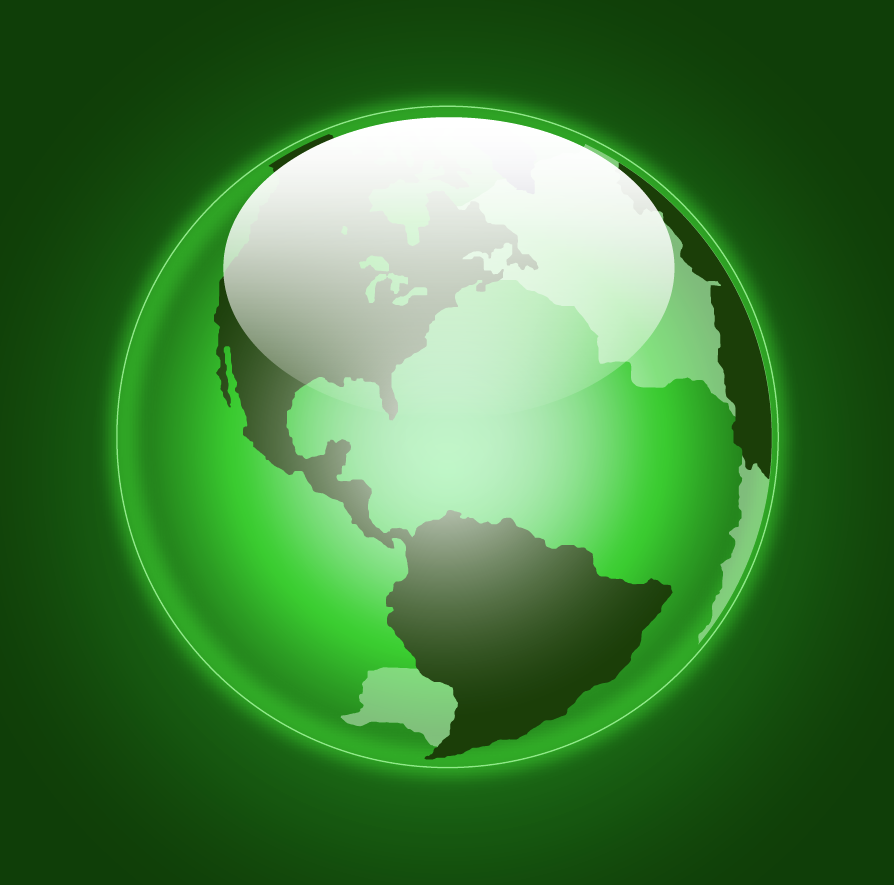 green glowing earth vector
