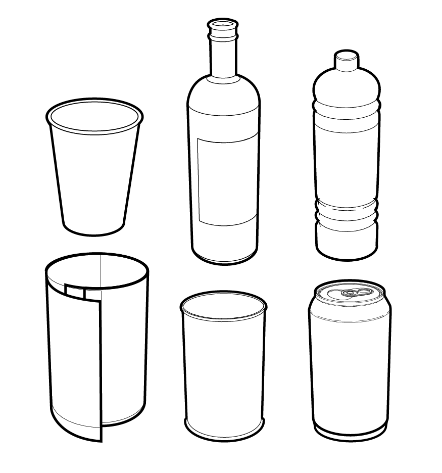 Line Drawing Jug : Vector line drawings of cans bottles and cups
