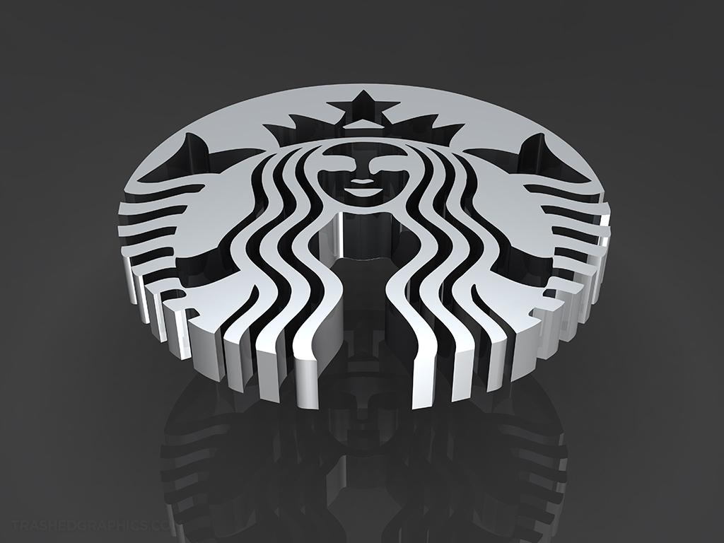 silver 3d starbucks logo