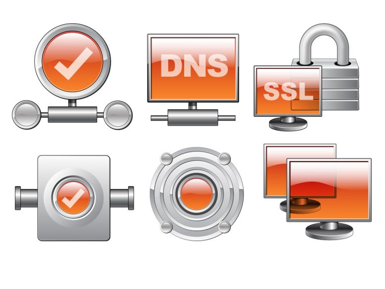 six glossy silver and orange networking icons
