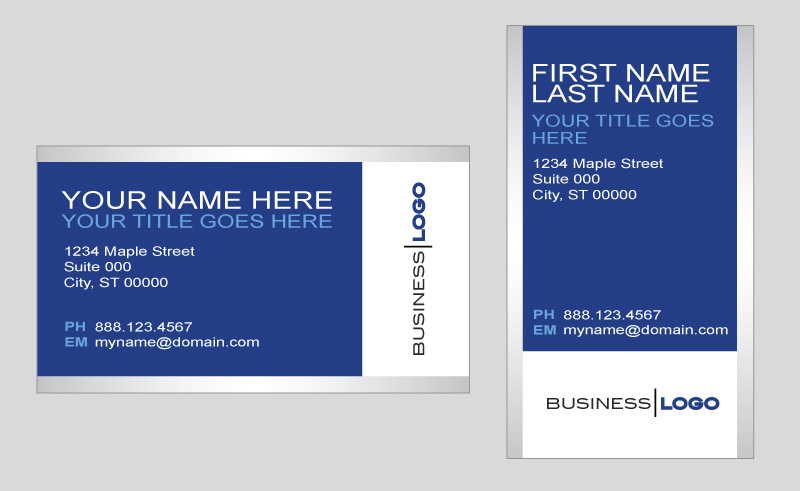 Generic blue and silver business card template in vector format ...