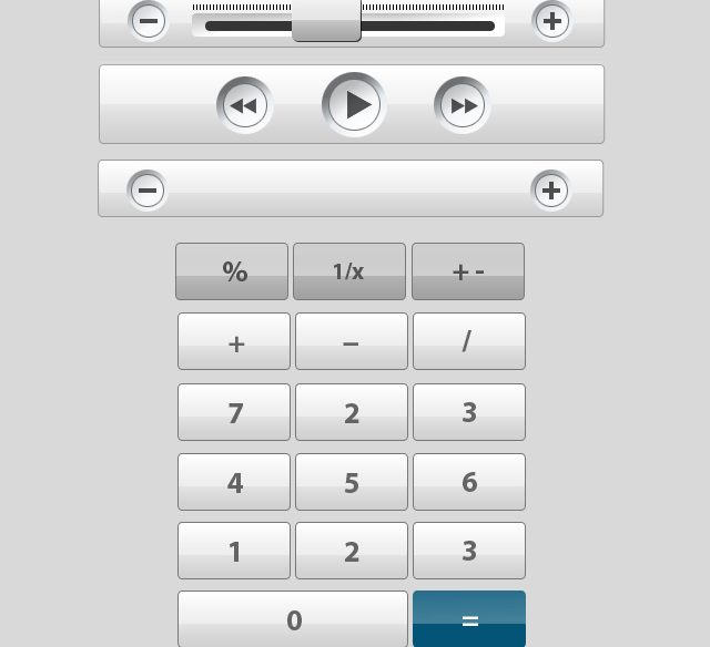 silver ui buttons and sliders