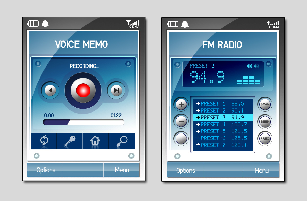 Two concepts for an FM radio and voice recorder app
