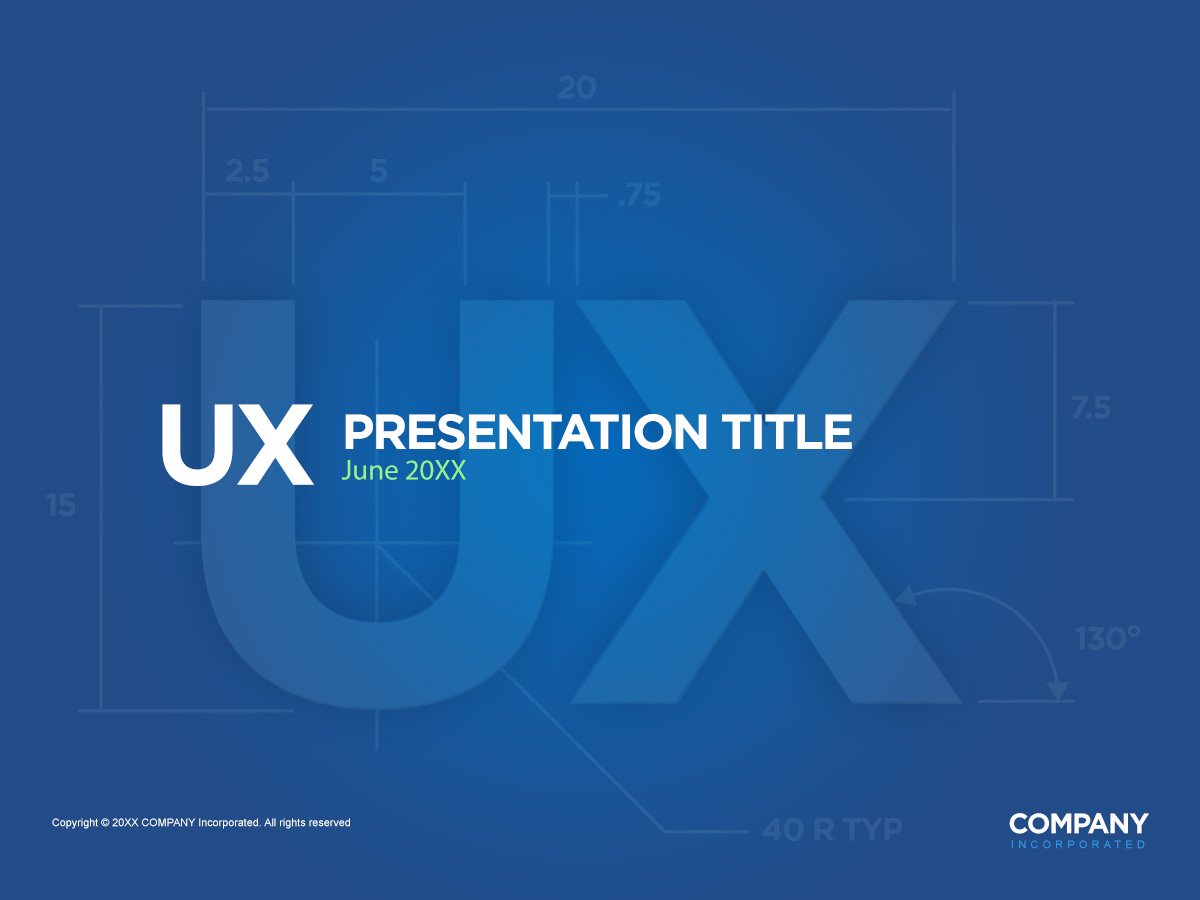 fully editable ux powerpoint presentation cover page in photoshop, Presentation templates
