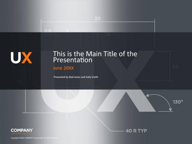 silver ux theme presentation cover slide template