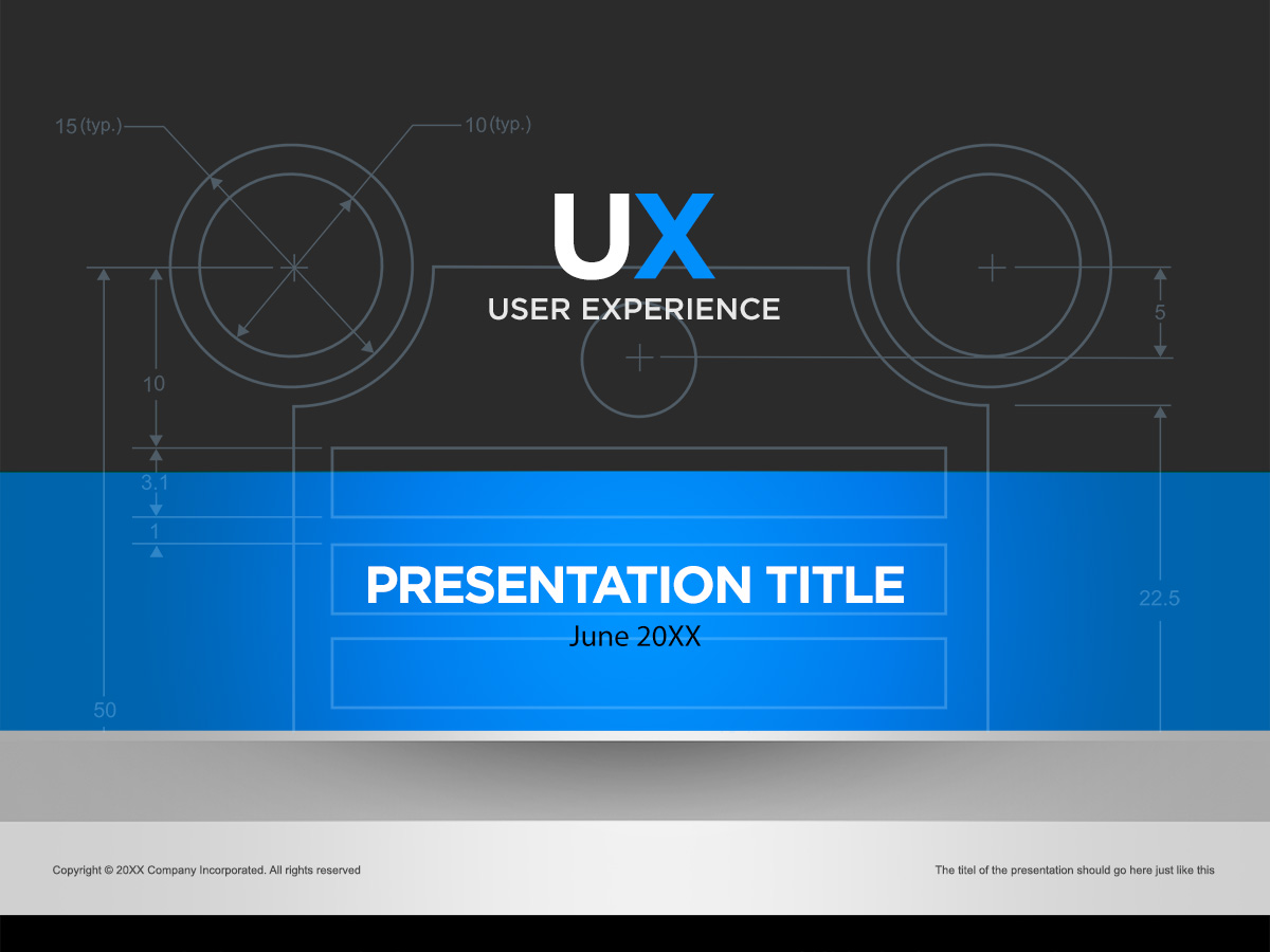 blue and silver ux powerpoint cover page template in photoshop psd, Presentation templates
