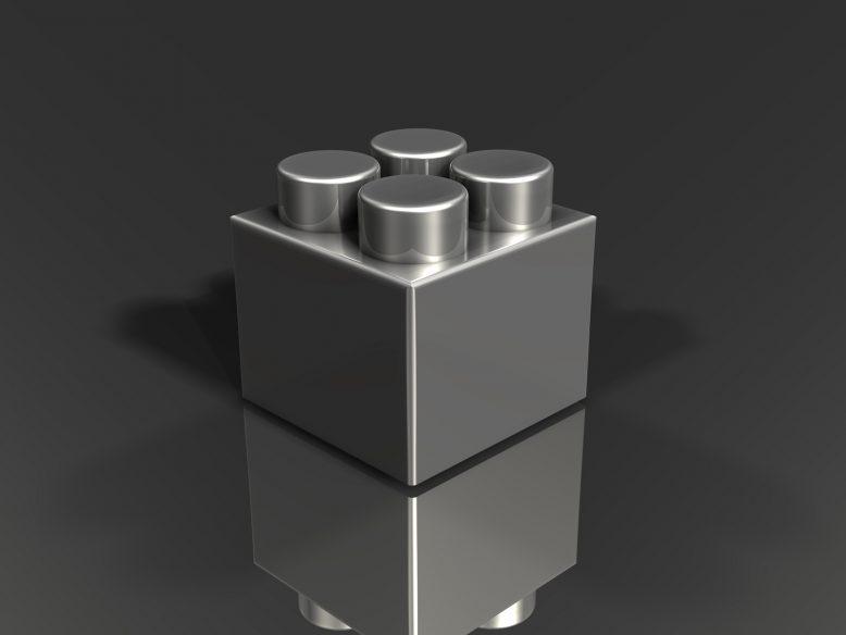 3d metallic toy building block