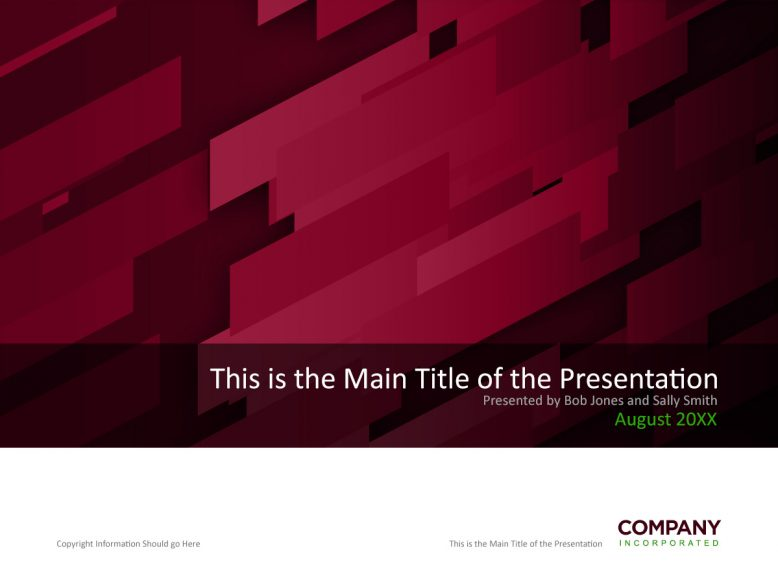 red and white angles powerpoint cover template