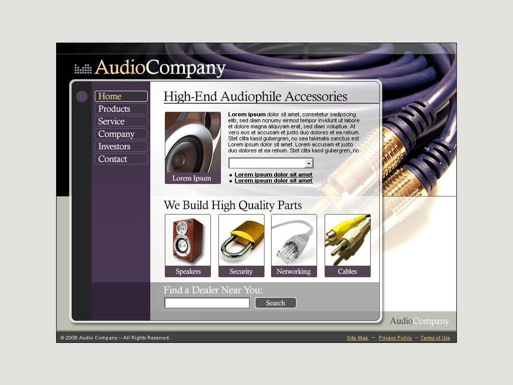 home audio web template
