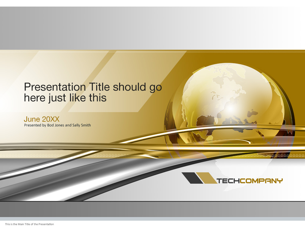 global technology powerpoint cover page template | trashedgraphics, Presentation templates