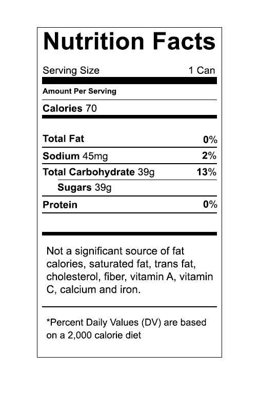 food nutrition label screenshot