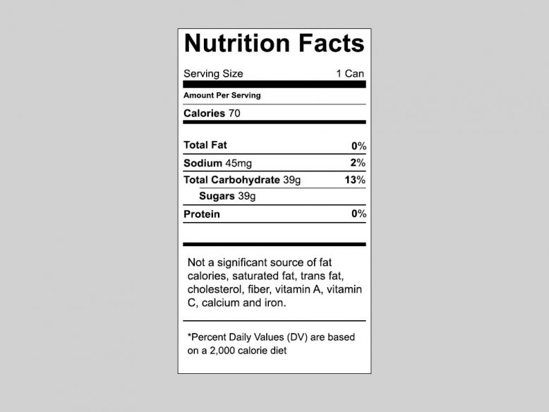 Vector Nutrition Label