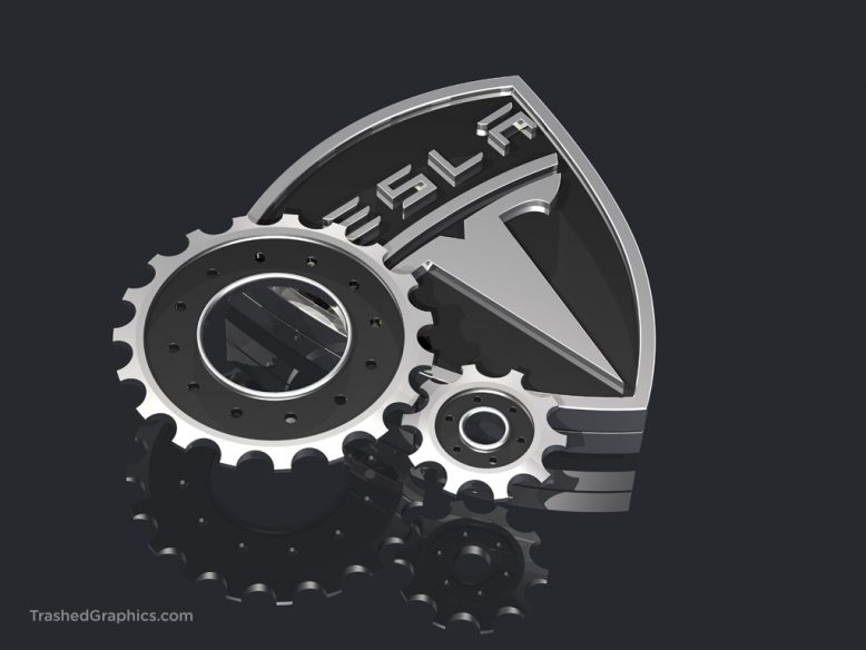 tesla logo and gears