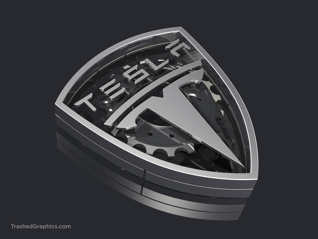 metallic tesla logo with internal gears