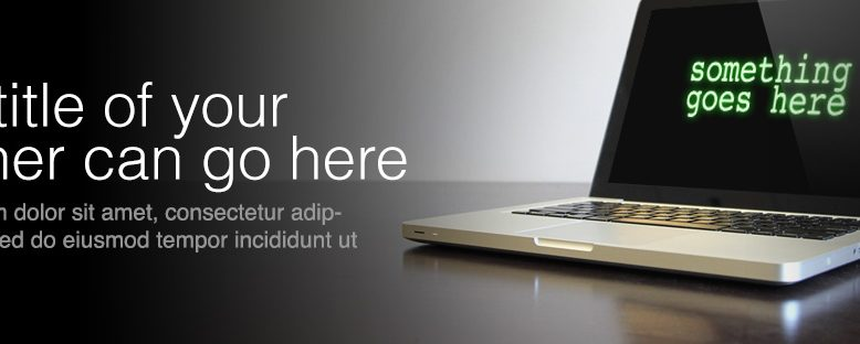 wide web banner with laptop computer