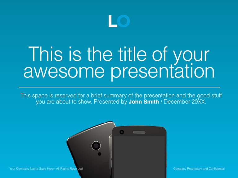 blue keynote cover slide with large typography and mobile phones, Presentation templates