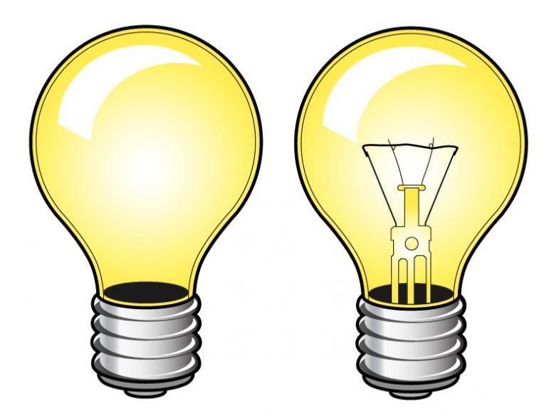 two vector lightbulbs
