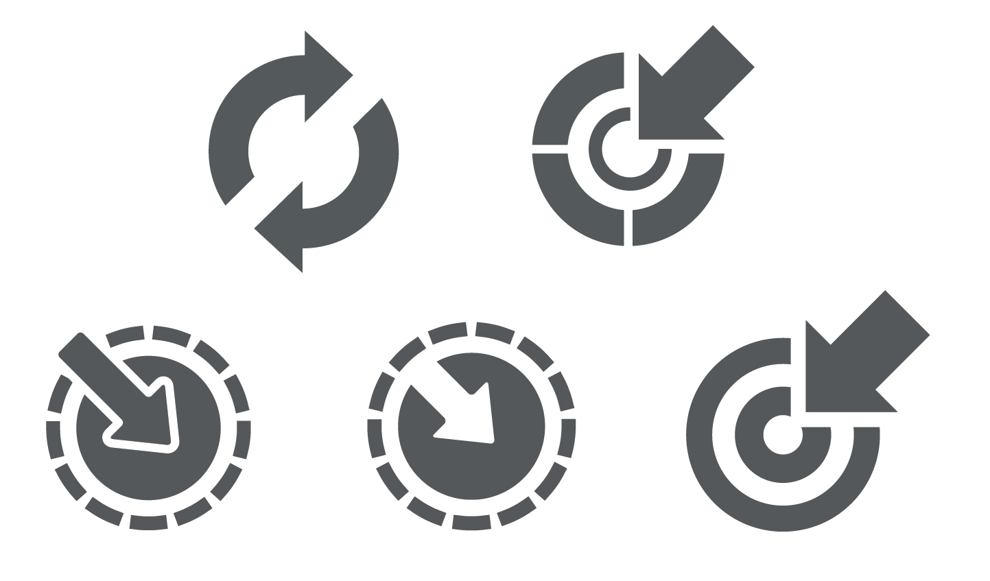 circular arrow pointer icons