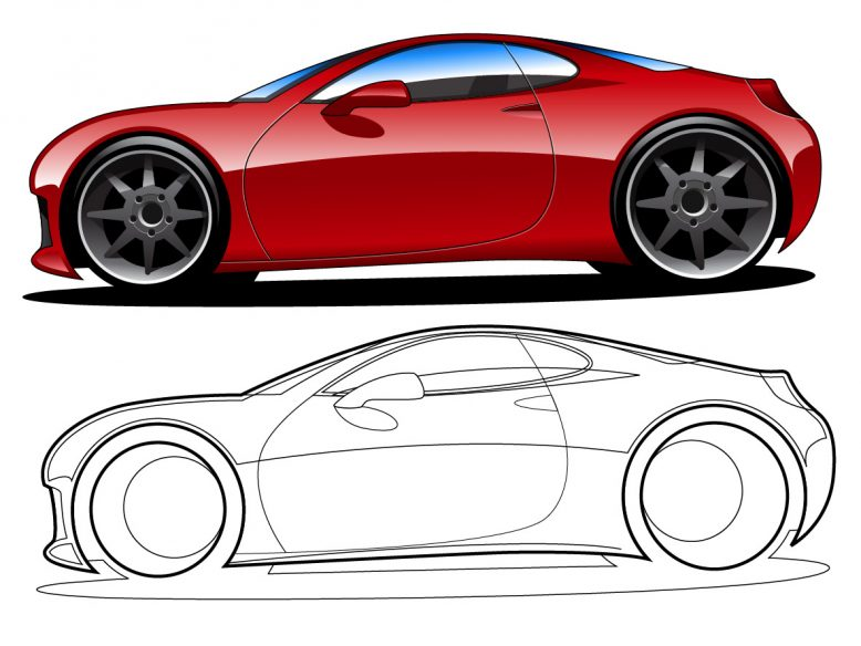 vector car side view drawing