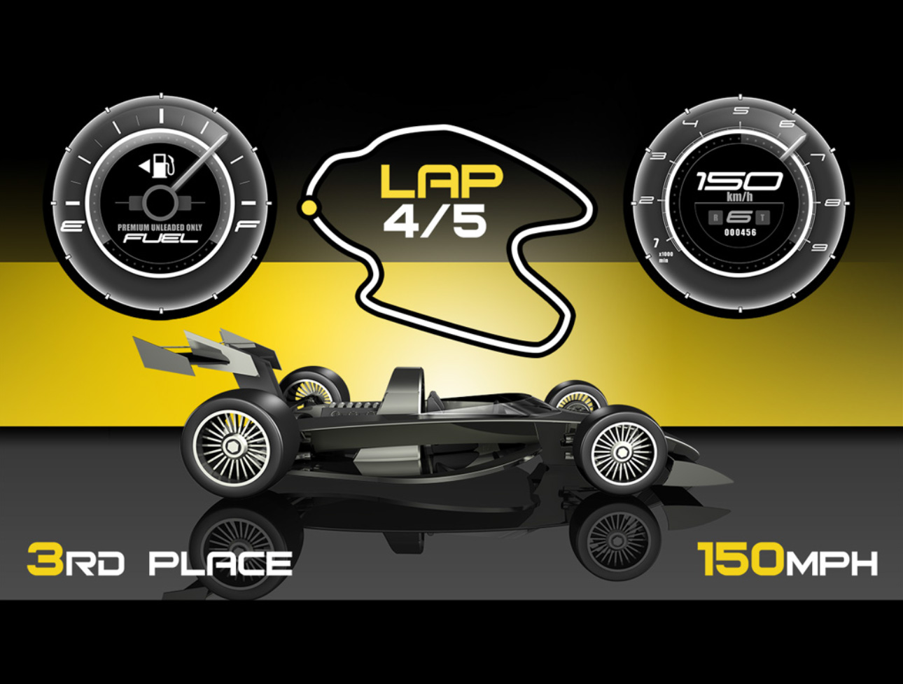 Simple car racing game UI