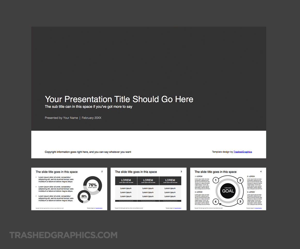 four page 16:9 wide screen powerpoint template