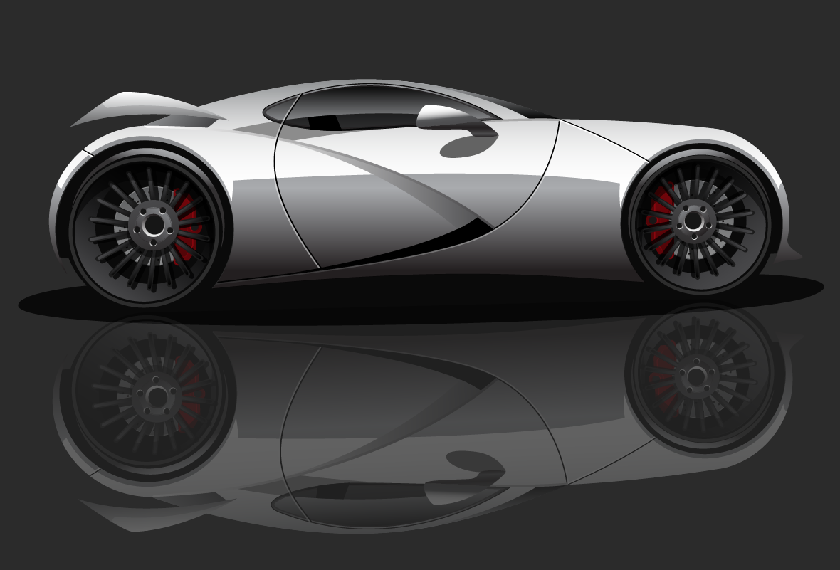 vector illustration of a white sports car