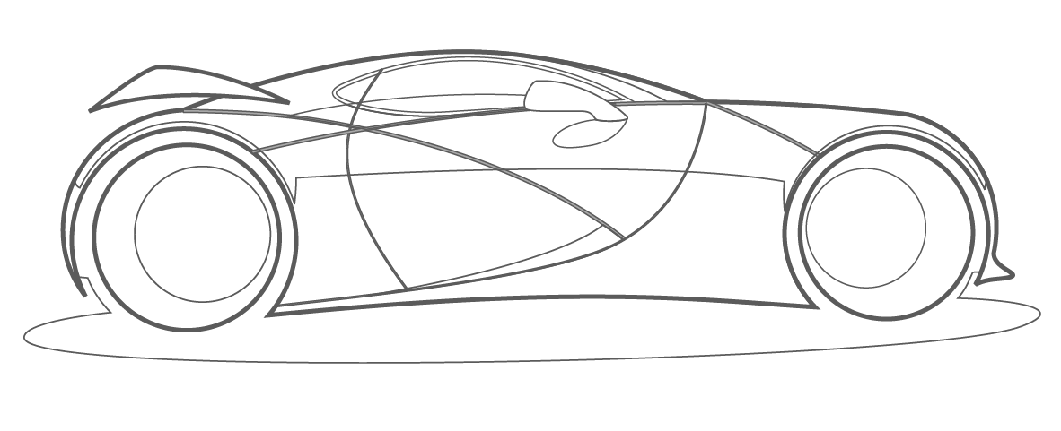 vector line drawing sports car