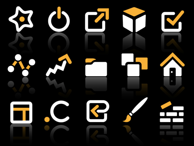 yellow and white vector icon set 1