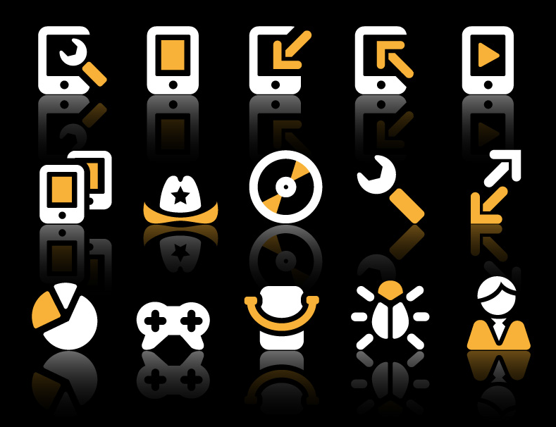 vector yellow and white icon set
