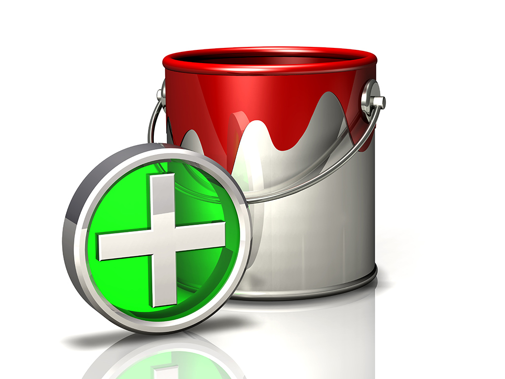 paint bucket and plus symbol