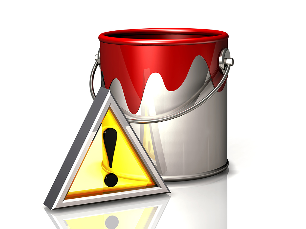 paint bucket and attention symbol