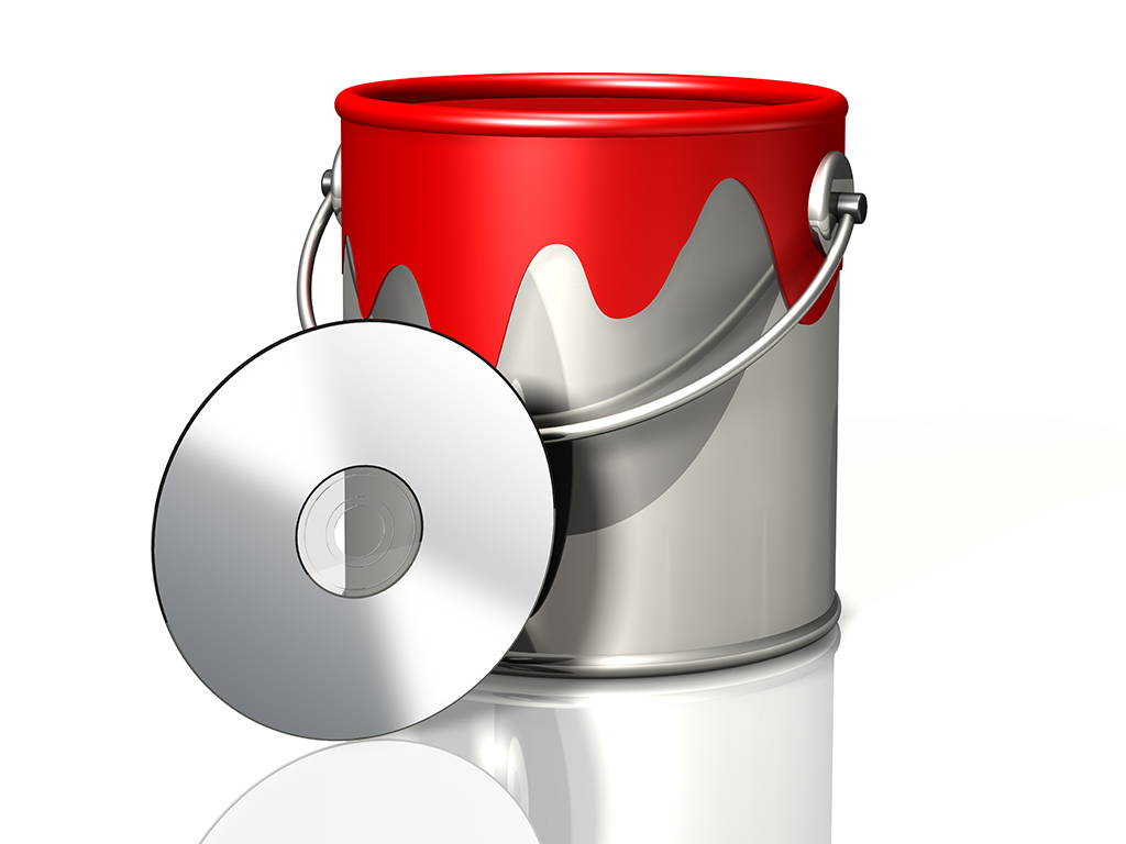 paint bucket and cd dvd