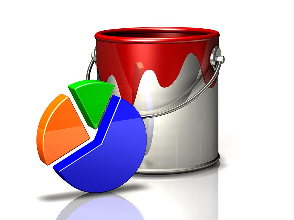 paint bucket and 3 segment pie chart