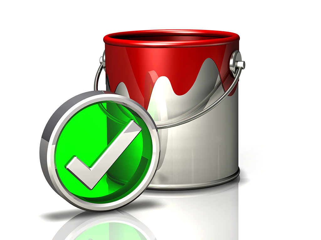 paint bucket and checkmark