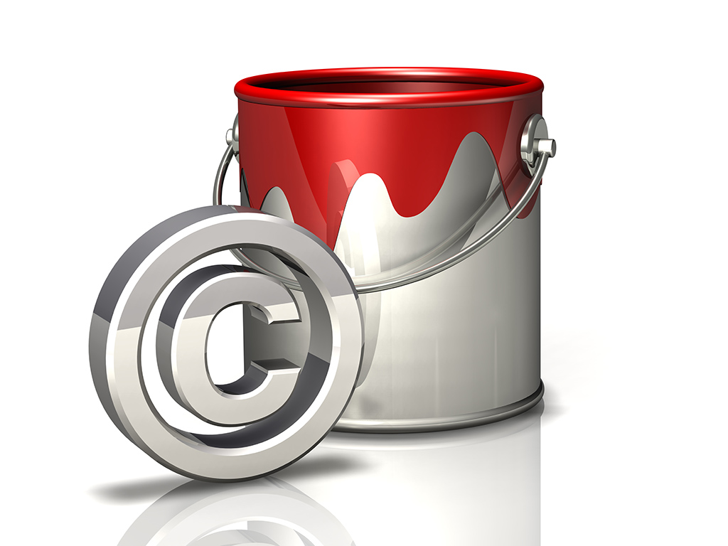 paint bucket and copyright symbol