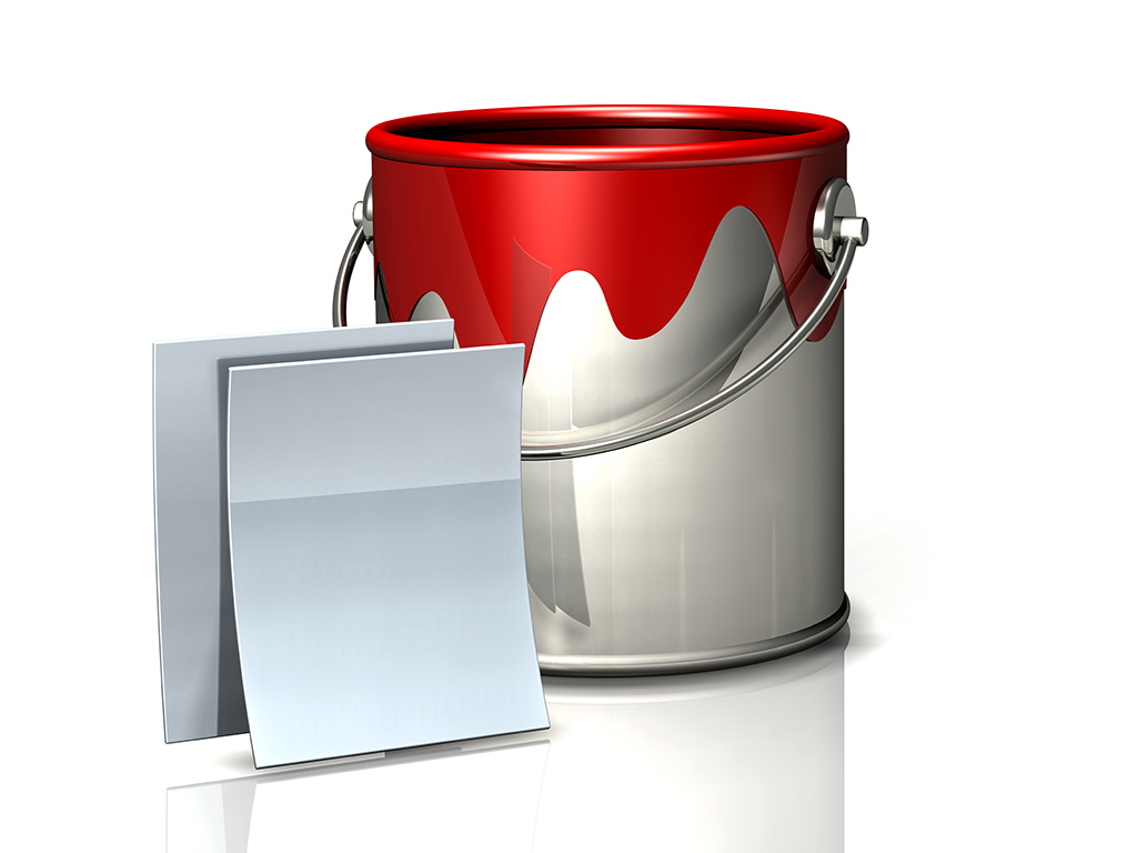 paint bucket and blank documents