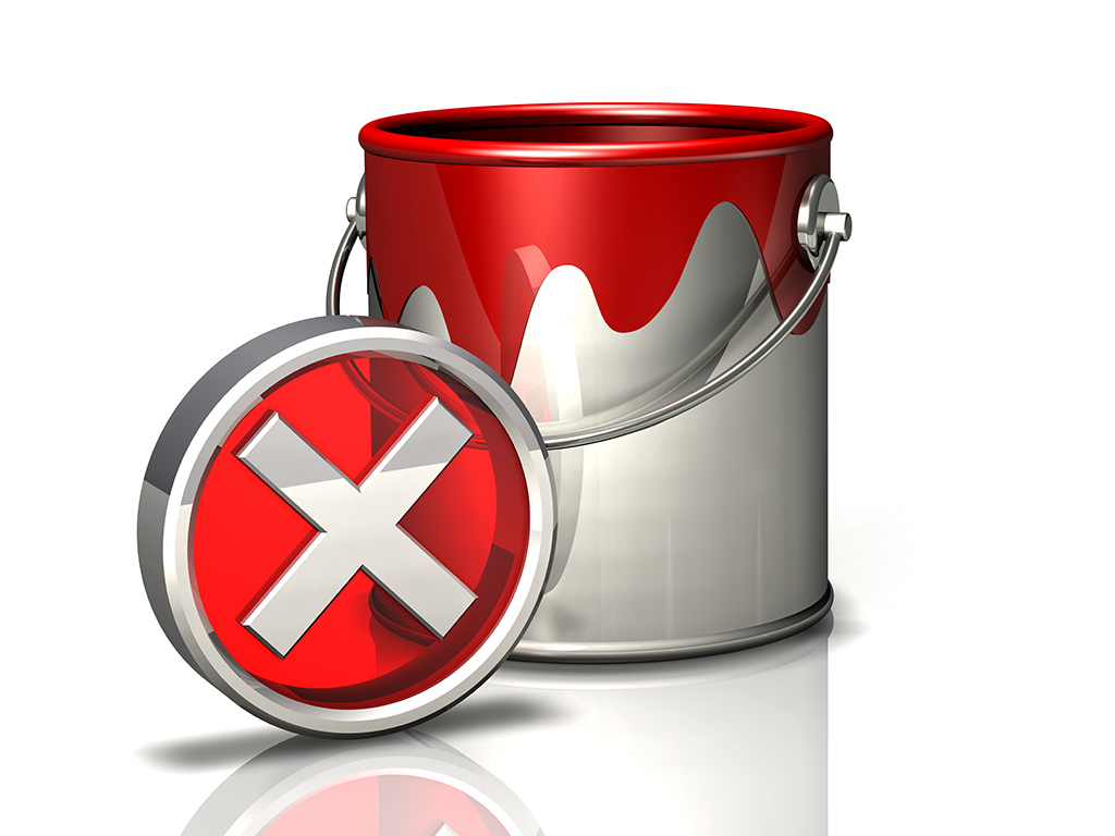 paint bucket and error symbol