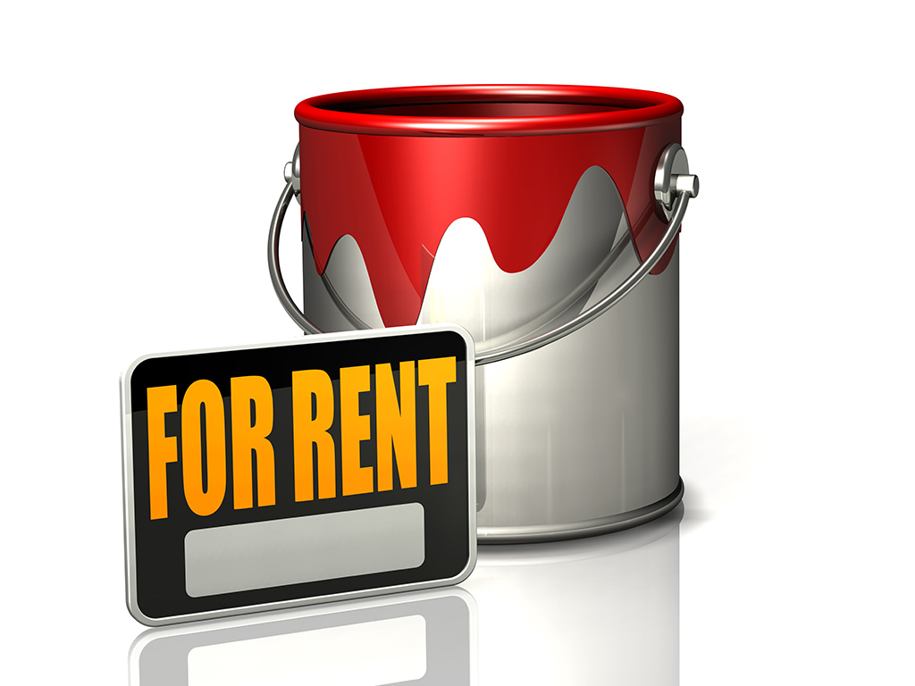 paint bucket and for rent sign